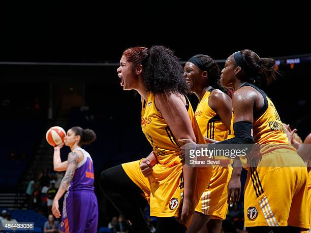 Amanda Zahui B of the Tulsa Shock reacts to a play against the Phoenix Mercury on August 18 2015 at the BOK Center in Tulsa Oklahoma NOTE TO USER...