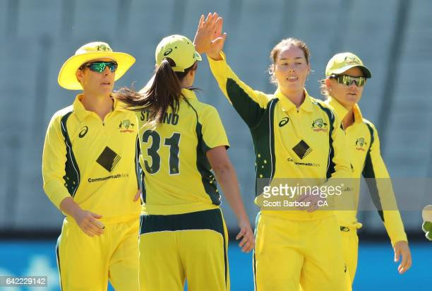 AmandaJade Wellington of Australia celebrates after dismissing Liz Perry of New Zealand of New Zealand during the first Women's International...