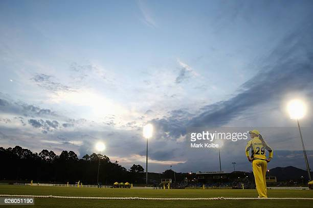 AmandaJade Wellington of Australia watches on as she fields in the outfield during the women's One Day International match between the Australian...