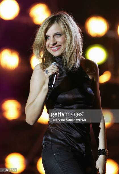 Amandine Bourgeois performs at the France 2 Television's 'Fete de la Musique' at the Auteuil Horse track on June 21 2008 in Paris France