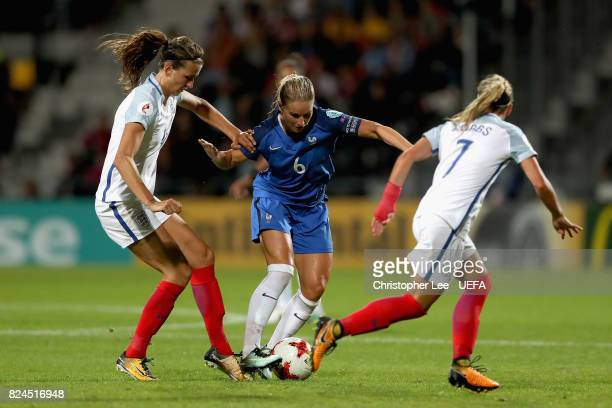 Amandine Henry of France attempts to get past Jill Scott of England and Jordan Nobbs of England during the UEFA Women's Euro 2017 Quarter Final match...