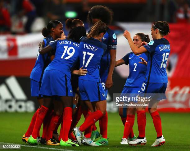 Amandine Henry of France celebrates scoring her teams first goal of the game with team mates during the Group C match between France and Austria...