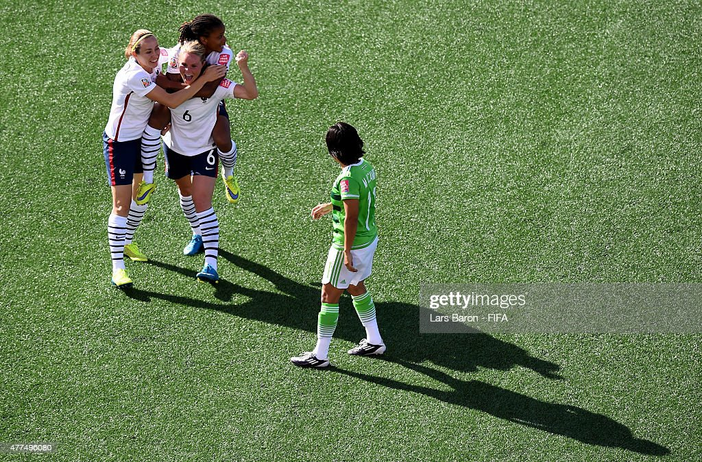 <a gi-track='captionPersonalityLinkClicked' href=/galleries/search?phrase=Amandine+Henry&family=editorial&specificpeople=4432019 ng-click='$event.stopPropagation()'>Amandine Henry</a> of France celebrates with team mates Sabrina Delannoy of France and Elodie Thomis of France after scoring her teams fifth goal during the FIFA Women's World Cup 2015 Group F match between Mexico and France at Lansdowne Stadium on June 17, 2015 in Ottawa, Canada.