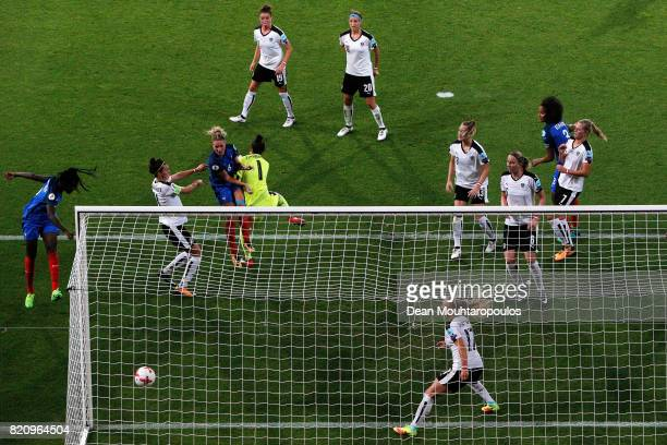 Amandine Henry of France headers and scores her teams first goal of the game past Goalkeeper Manuela Zinsberger of Austria during the Group C match...