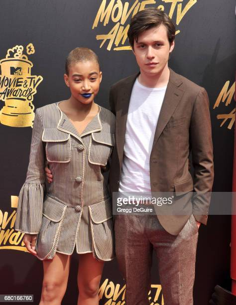 Amandla Stenberg and Nick Robinson arrive at the 2017 MTV Movie And TV Awards at The Shrine Auditorium on May 7 2017 in Los Angeles California