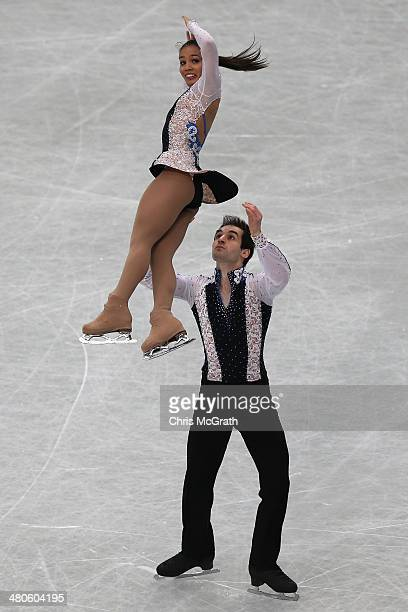 Amani Fancy and Christopher Boyadji of Great Britain compete in the Pairs Short Program during ISU World Figure Skating Championships at Saitama...
