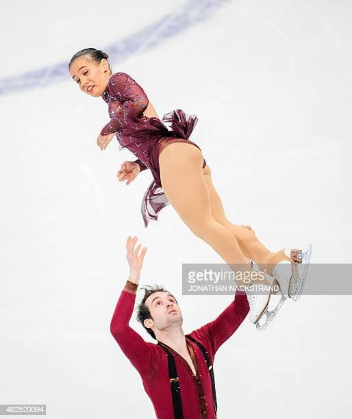Amani Fancy and Christopher Boyadji of Great Britain pair perform their short program routine during the ISU European Figure Skating Championships on...