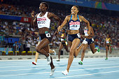 Amantle Montsho of Botswana and Allyson Felix of United States compete in the women's 400 metres final during day three of the 13th IAAF World...