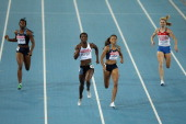 Amantle Montsho of Botswana and Allyson Felix of United States race to the finish line ahead of Francena McCorory of United states and Antonina...