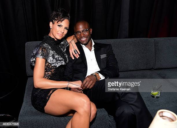 Amanza Smith Brown and actor Taye Diggs attend the Warner Music Group annual Grammy celebration at Chateau Marmont on February 8 2015 in Los Angeles...