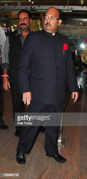 Amar Singh arrives for the royal wedding of Prince Shivraj Singh in Jaipur on November 18 2010