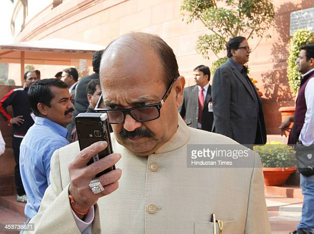 Amar Singh at the Parliament house during the opening of the Winter session of Parliament on December 5 2013 in New Delhi India The first day of the...