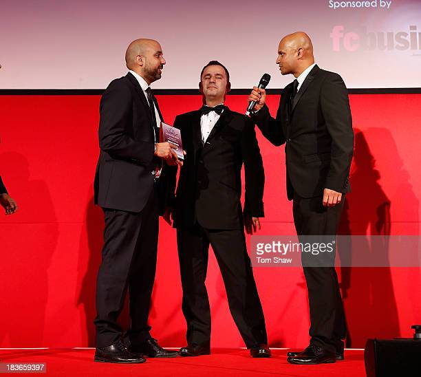 Amar Singh from the Evening Standard receives the Media Award during the Second Annual Asian Football awards at Wembley Stadium on October 8 2013 in...