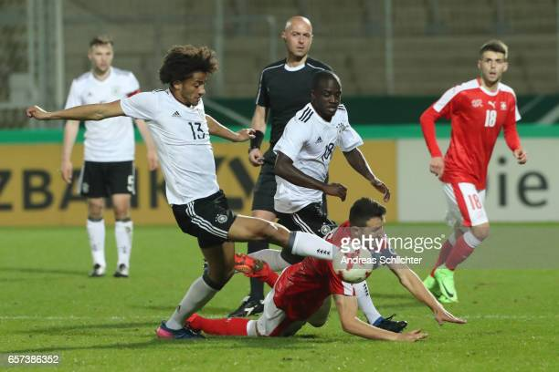 Amara Conde Emmanuel Iyoha of Germany challenes Amara Conde of Switzerland during the U20 Germany vs U20 Switzerland International FriendlyMatch on...