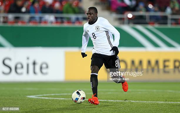 Amara Conde of Germany runs with the ball during the U20 international friendly match between Germany and Poland at Stadion Zwickau on November 14...