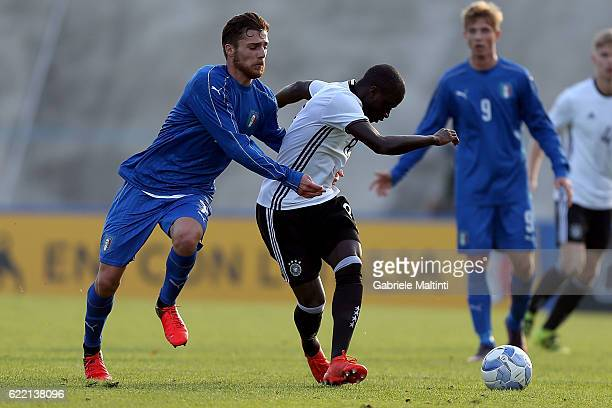 Amara Conde of Germany U20 in action against Michele Rocca of Italy U20 during the Four Nations tournament match between Italy U20 and Germany U20 on...