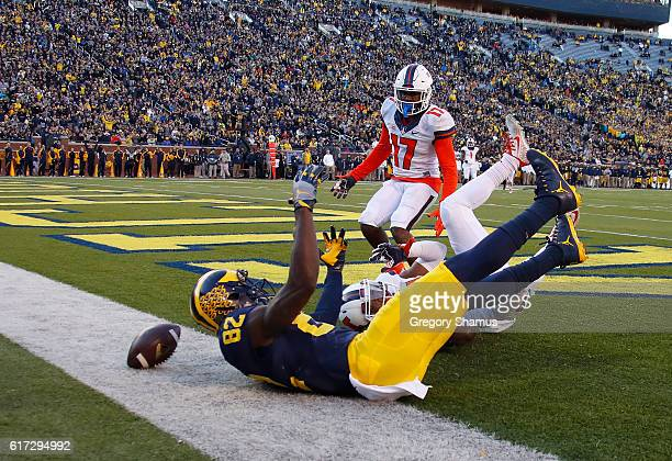 Amara Darboh of the Michigan Wolverines can't come up with a third quarter touchdown catch next to Stanley Green of the Illinois Fighting Illini on...