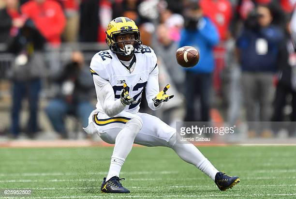 Amara Darboh of the Michigan Wolverines catches a pass during the first half against the Ohio State Buckeyes at Ohio Stadium on November 26 2016 in...