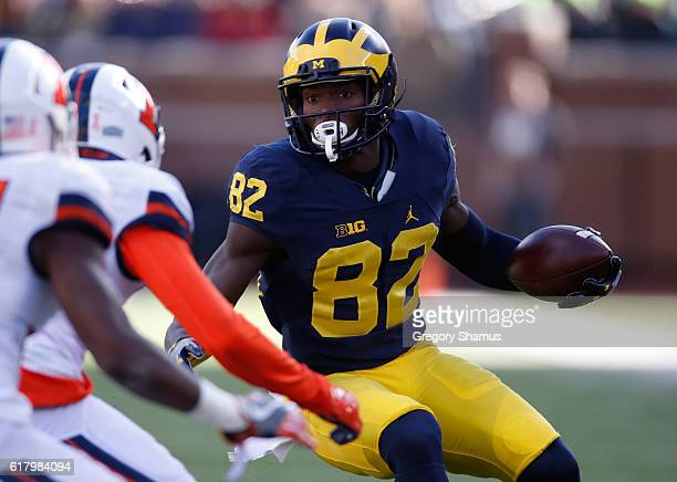 Amara Darboh of the Michigan Wolverines looks for running room while playing the Illinois Fighting Illini on October 22 2016 at Michigan Stadium in...