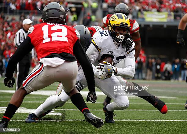 Amara Darboh of the Michigan Wolverines runs after catching a pass during the second quarter against the Ohio State Buckeyes at Ohio Stadium on...