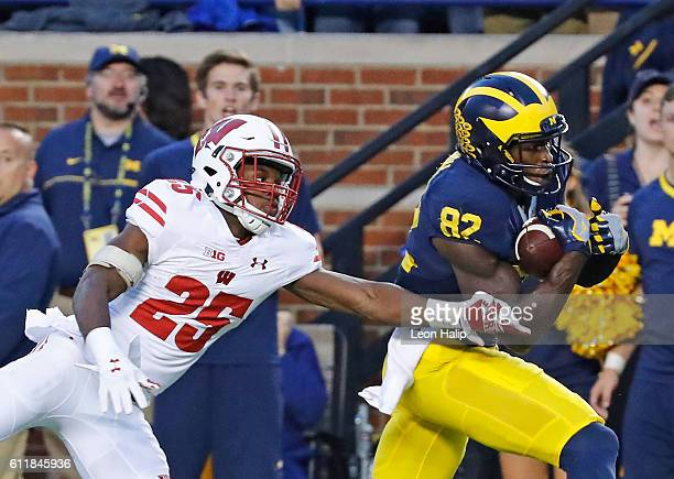 Amara Darboh of the Michigan Wolverines scores on a fourth quarter touchdown pass as cornerback Derrick Tindal of the Wisconsin Badgers defends...
