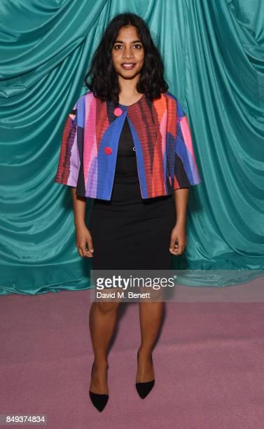 Amara Karan attends the Emilio De La Morena SS18 Catwalk Show at BFC Show Space on September 19 2017 in London England