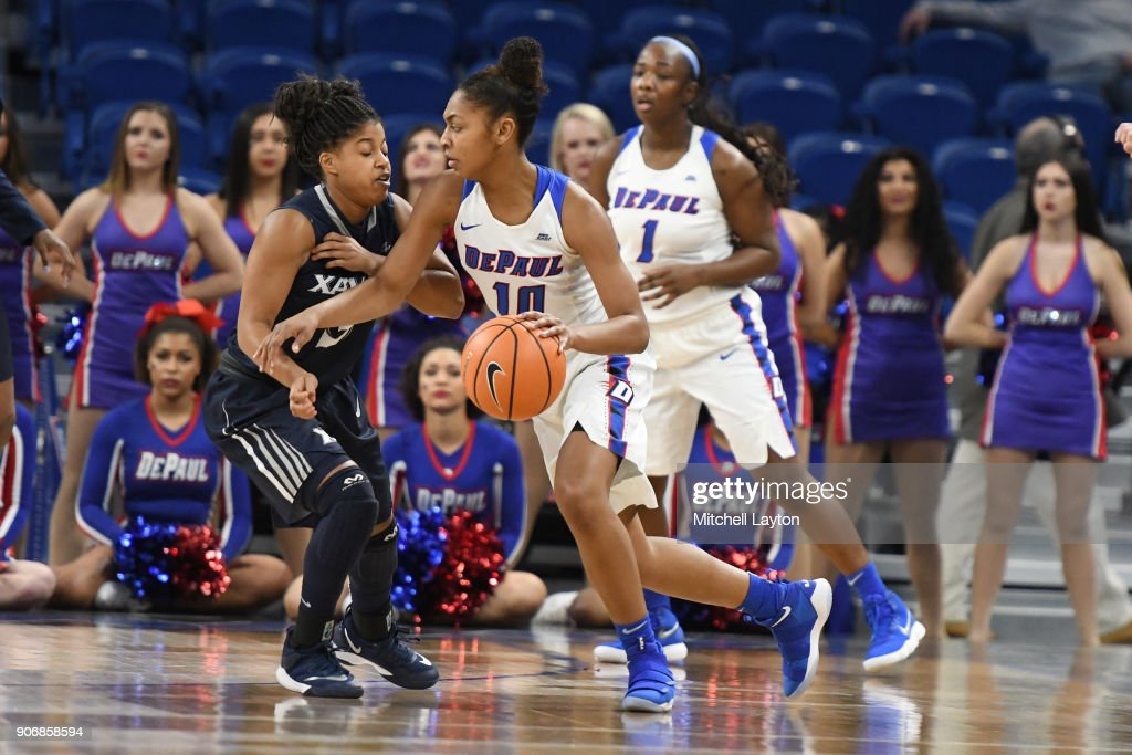 Amarah Coleman #10 of the DePaul Blue Demons dribbles the ball during a women's college basketball game against the Xavier Musketeers at Wintrust Arena on January 12, 2018 in Chicago, Illinois. The Blue Demons won 79-48.