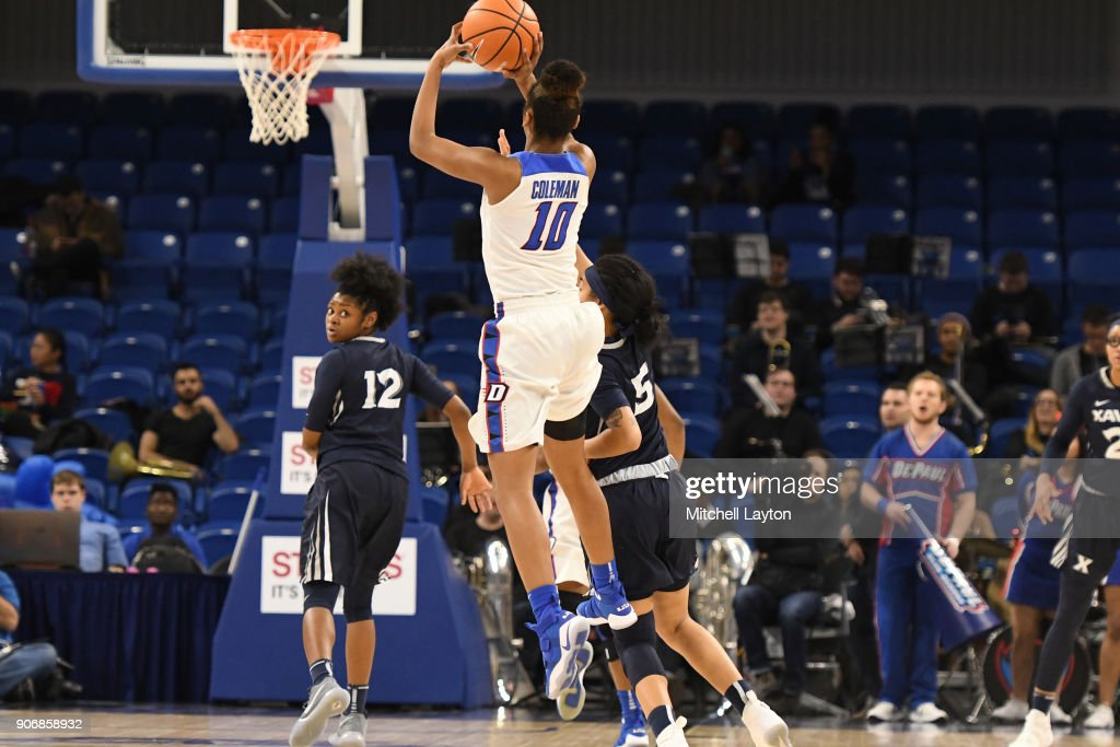 Amarah Coleman #10 of the DePaul Blue Demons takes a jump shot during a women's college basketball game against the Xavier Musketeers at Wintrust Arena on January 12, 2018 in Chicago, Illinois. The Blue Demons won 79-48.