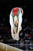 Amaranta Torres Nunez of Mexico competes on the balance beam during the women's artistic gymnastics team final and qualifications on Day 2 of the...