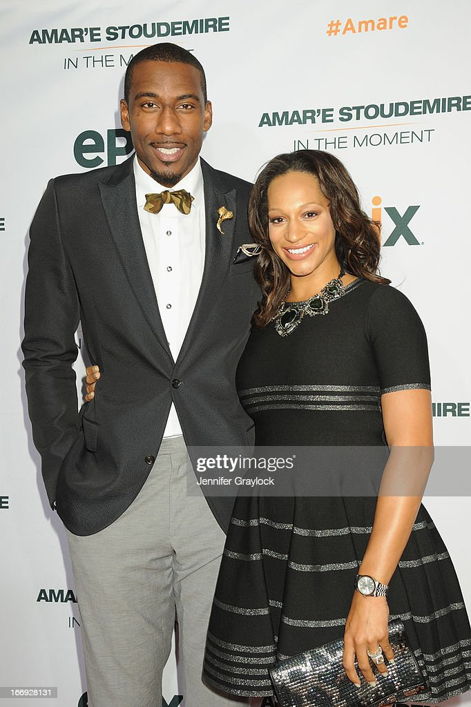 Amar'e Stoudemire and Alexis Welch attend EPIX premiere of Amar'e Stoudemire IN THE MOMENT on April 18, 2013 in New York City.