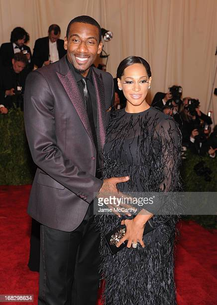 Amar'e Stoudemire and Alexis Welch attend the Costume Institute Gala for the 'PUNK Chaos to Couture' exhibition at the Metropolitan Museum of Art on...