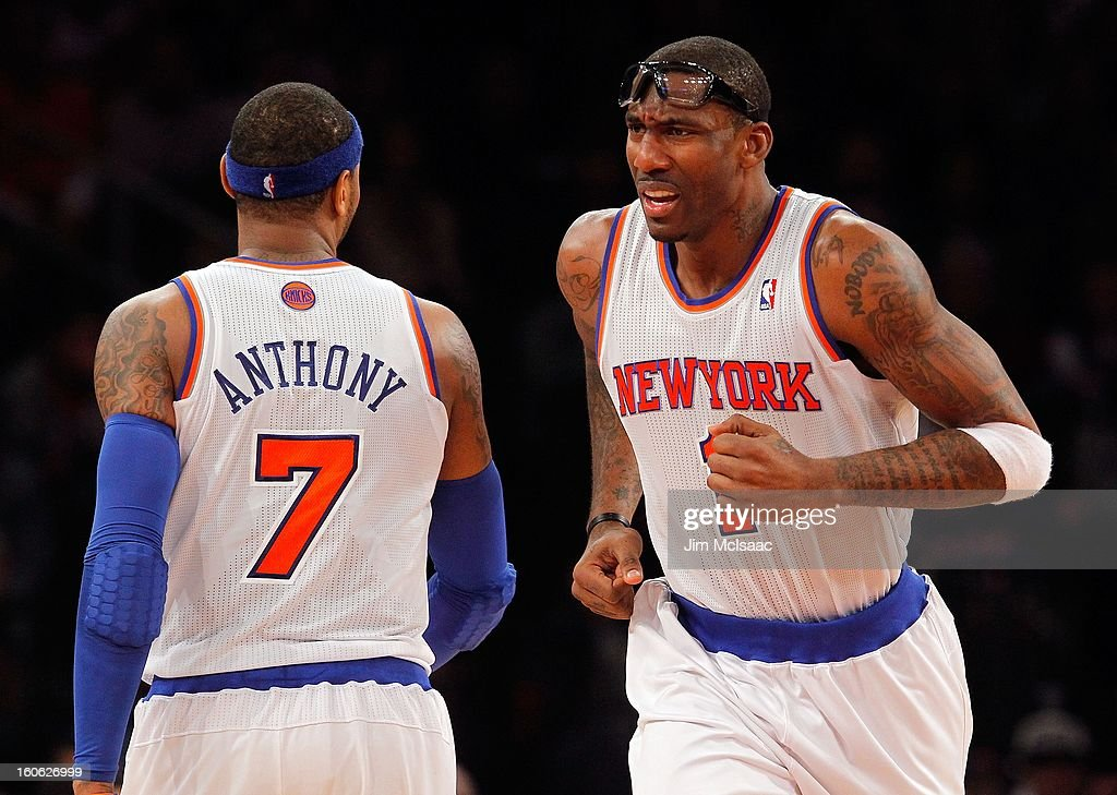 Amar'e Stoudemire #1 and Carmelo Anthony #7 of the New York Knicks in action against the Atlanta Hawks at Madison Square Garden on January 27, 2013 in New York City. The Knicks defeated the Hawks 106-104.