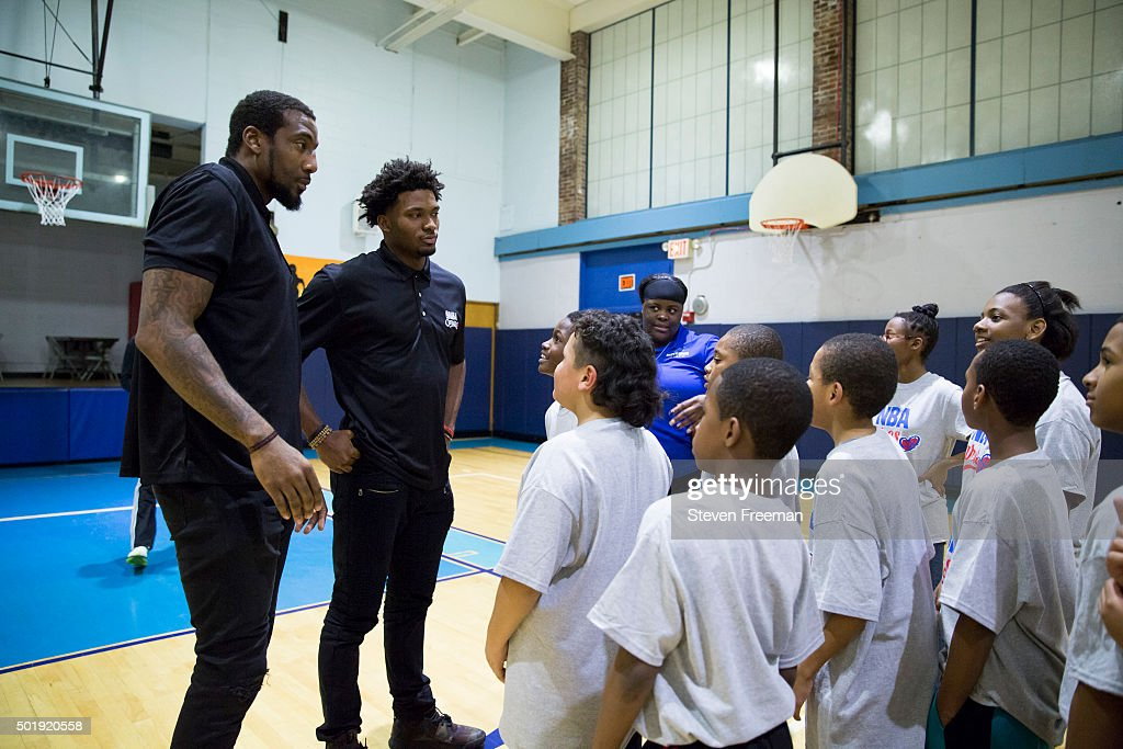 Amar'e Stoudemire #5 and Justise Winslow #20 of the Miami Heat host an NBA Cares clinic for Good Morning America at the Madison Square Boys and Girls Club on December 12, 2015 in Bronx, New York.