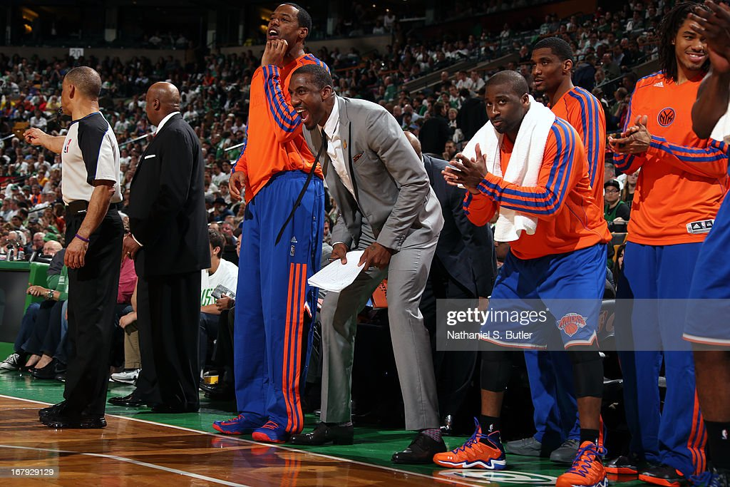 <a gi-track='captionPersonalityLinkClicked' href=/galleries/search?phrase=Amar%27e+Stoudemire&family=editorial&specificpeople=201492 ng-click='$event.stopPropagation()'>Amar'e Stoudemire</a> #1 and the New York Knicks bench reacts to a play against the Boston Celtics in Game Three of the Eastern Conference Quarterfinals during the 2013 NBA Playoffs on April 26, 2013 at the TD Garden in Boston.