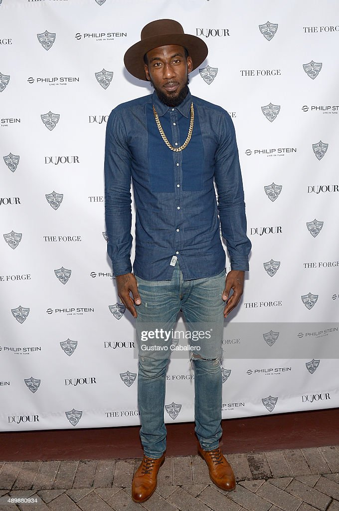 Amare Stoudemire attends DuJour Magazine's Jason Binn & The Forge's Shareef Malnik welcome <a gi-track='captionPersonalityLinkClicked' href=/galleries/search?phrase=Amar%27e+Stoudemire&family=editorial&specificpeople=201492 ng-click='$event.stopPropagation()'>Amar'e Stoudemire</a> to the Miami Heat presented by Philip Stein at The Forge Restaurant on September 24, 2015 in Miami, Florida.