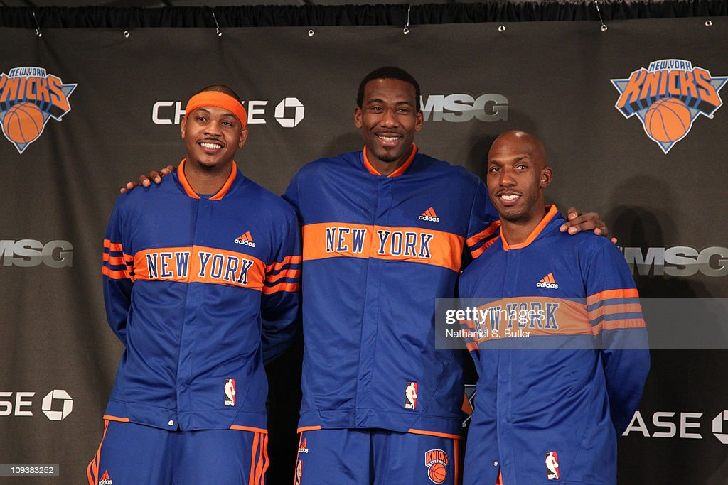 <a gi-track='captionPersonalityLinkClicked' href=/galleries/search?phrase=Amar%27e+Stoudemire&family=editorial&specificpeople=201492 ng-click='$event.stopPropagation()'>Amar'e Stoudemire</a> #1, <a gi-track='captionPersonalityLinkClicked' href=/galleries/search?phrase=Chauncey+Billups&family=editorial&specificpeople=201508 ng-click='$event.stopPropagation()'>Chauncey Billups</a> #4 and <a gi-track='captionPersonalityLinkClicked' href=/galleries/search?phrase=Carmelo+Anthony&family=editorial&specificpeople=201494 ng-click='$event.stopPropagation()'>Carmelo Anthony</a> #7 of the New York Knicks pose during the press conference prior to the game against the Milwaukee Bucks on February 23, 2011 at Madison Square Garden in New York City.