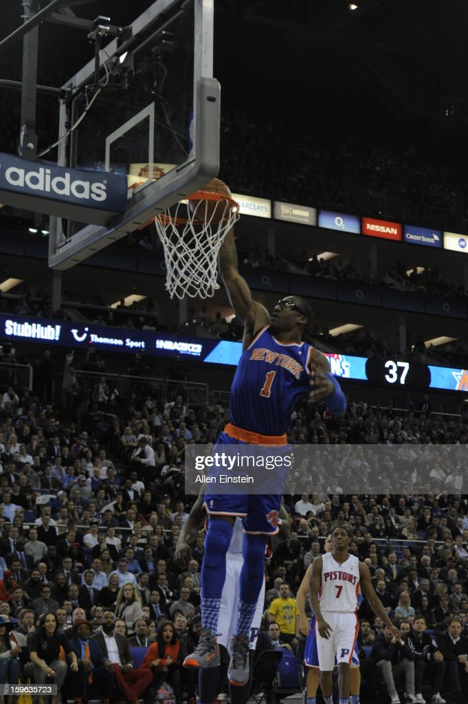 Amar'e Stoudemire #1 of New York Knicks dunks during a game at the 02 Arena on January 17, 2013 in London, England.