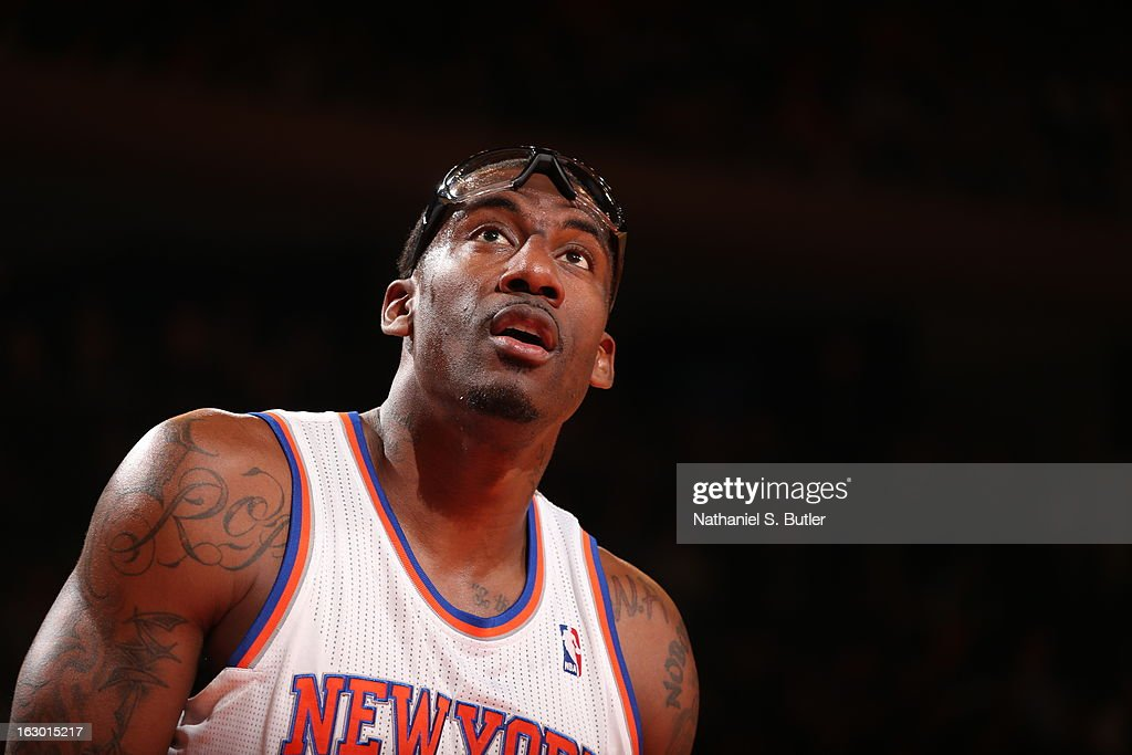 Amar'e Stoudemire #1 of New York Knicks in a game against the Miami Heat on March 3, 2013 at Madison Square Garden in New York City.