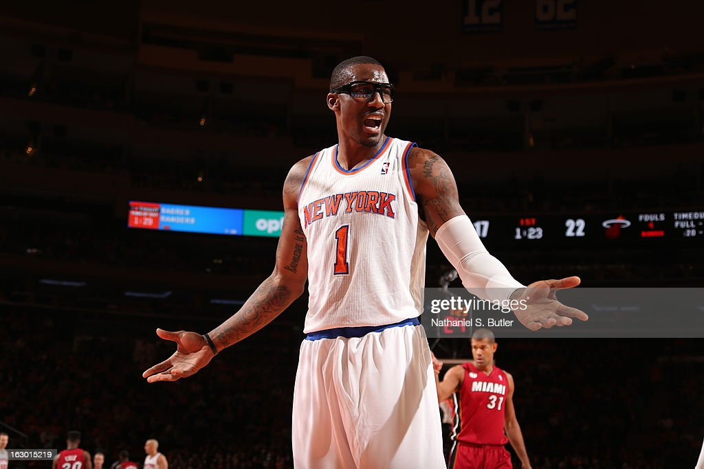 Amar'e Stoudemire #1 of New York Knicks reacts to a call in a game against the Miami Heat on March 3, 2013 at Madison Square Garden in New York City.