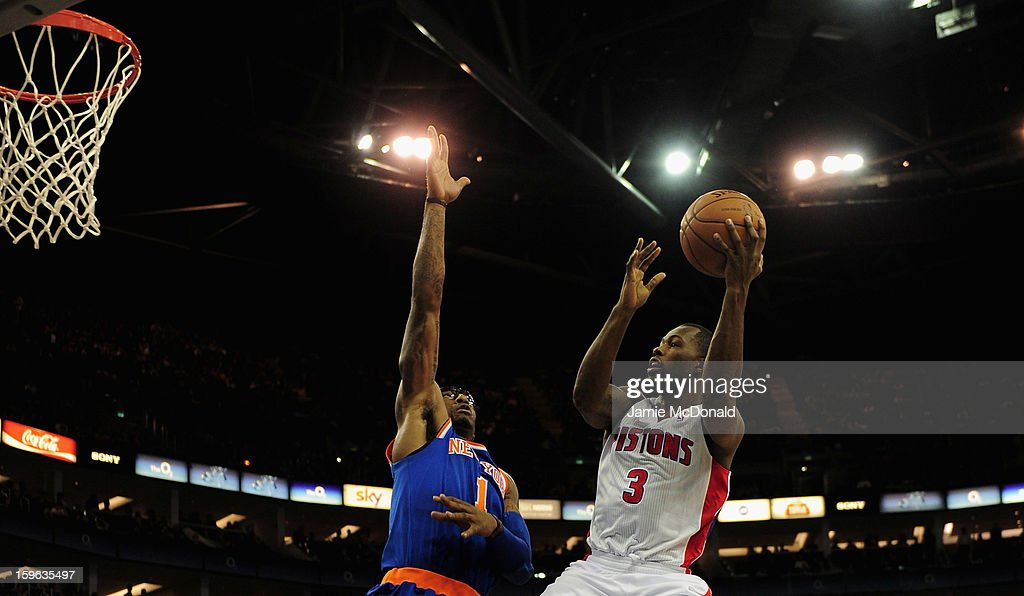 Amar'e Stoudemire of New York Knicks tries to block the shot from Rodney Stuckey of Detroit Pistons during the NBA London Live 2013 game between New York Knicks and the Detroit Pistons at the O2 Arena on January 17, 2013 in London, England.