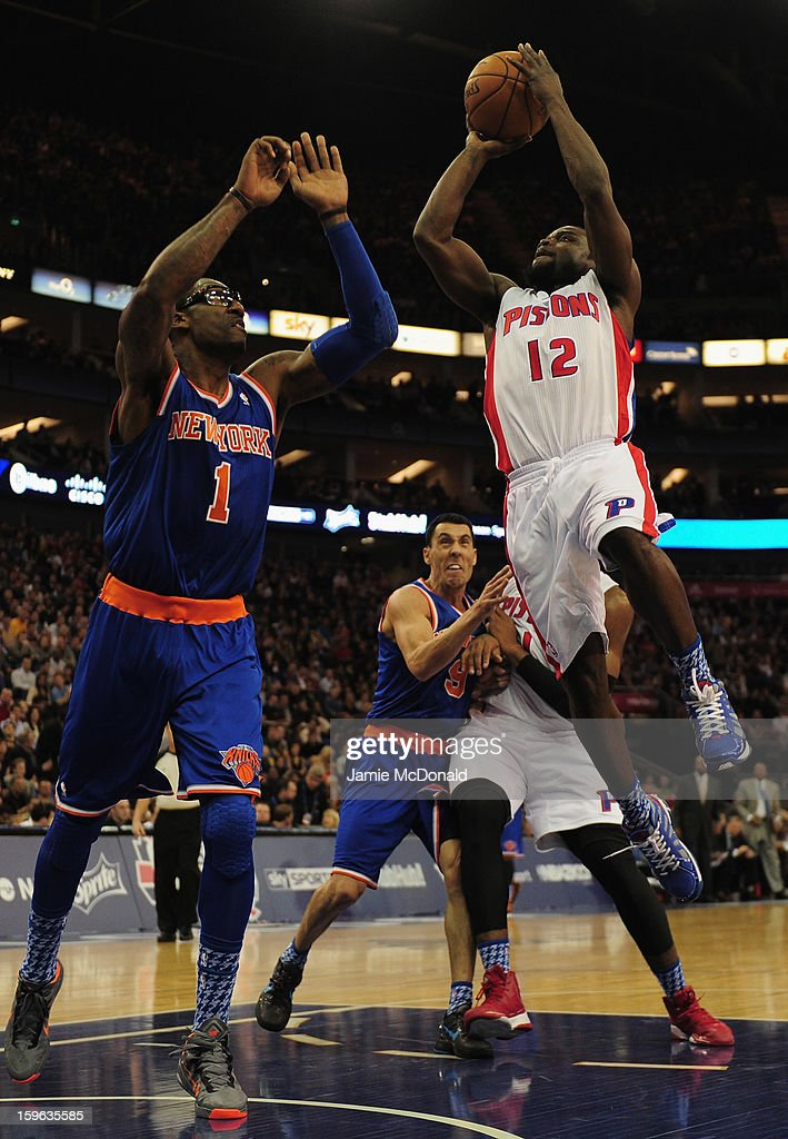 Amar'e Stoudemire of New York Knicks tries to block the shot from Will Bynum of Detroit Pistons during the NBA London Live 2013 game between New York Knicks and the Detroit Pistons at the O2 Arena on January 17, 2013 in London, England.