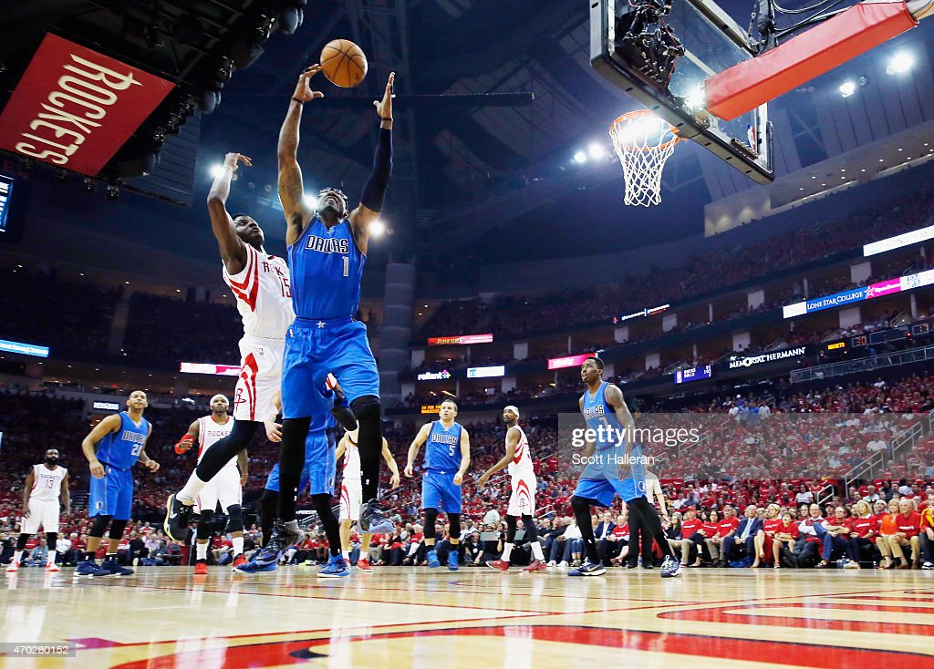 Amar'e Stoudemire of the Dallas Mavericks and Clint Capela of the Houston Rockets battle for a rebound during Game One in the Western Conference...