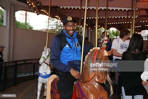 Amar'e Stoudemire of the Dallas Mavericks attends a season ticket holders fan appreciation event on April 6 2015 at Six Flags Over Texas in Arlington...