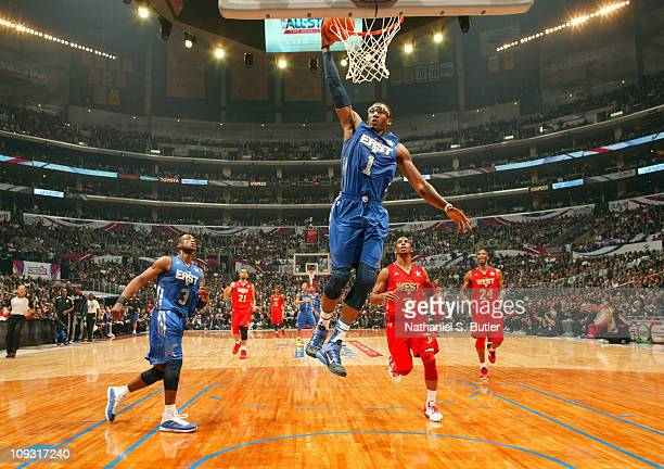 Amar'e Stoudemire of the Eastern Conference AllStars dunks against the Western Conference AllStars during the 2011 NBA AllStar Game on February 20...