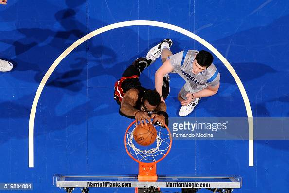 Amar'e Stoudemire of the Miami Heat dunks the ball during the game against the Orlando Magic on April 8 2016 at Amway Center in Orlando Florida NOTE...