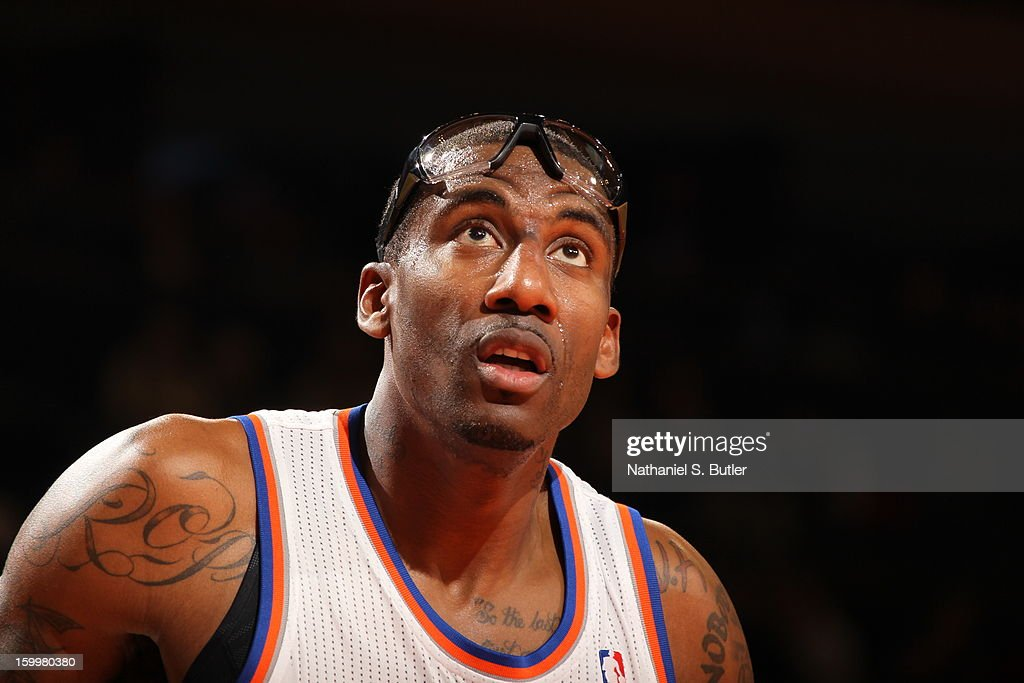 <a gi-track='captionPersonalityLinkClicked' href=/galleries/search?phrase=Amar%27e+Stoudemire&family=editorial&specificpeople=201492 ng-click='$event.stopPropagation()'>Amar'e Stoudemire</a> #1 of the New York Knicks awaits a rebound against the Brooklyn Nets on January 21, 2013 at Madison Square Garden in New York City.