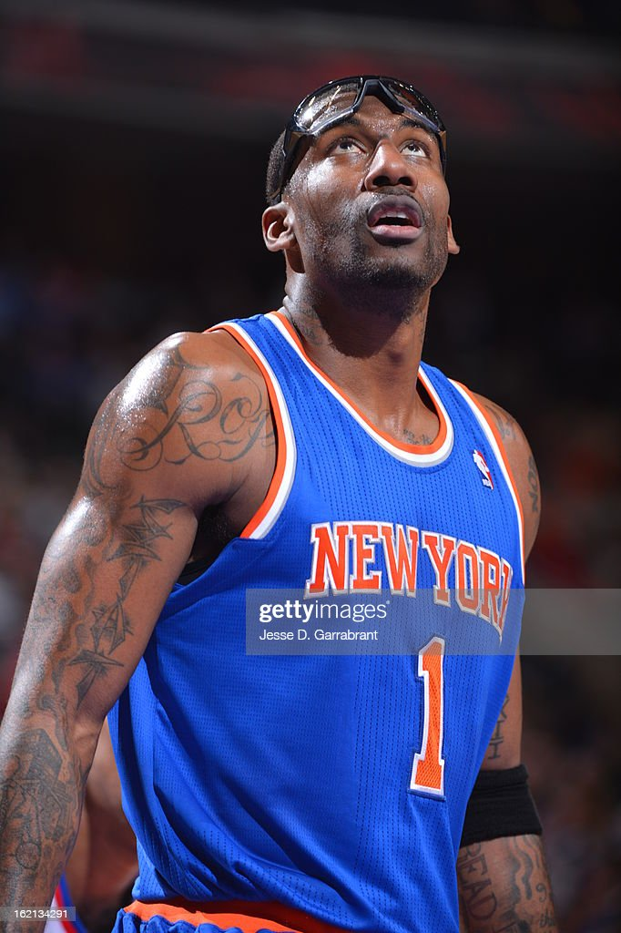Amar'e Stoudemire #1 of the New York Knicks awaits rebound against the Philadelphia 76ers at the Wells Fargo Center on January 26, 2013 in Philadelphia, Pennsylvania.