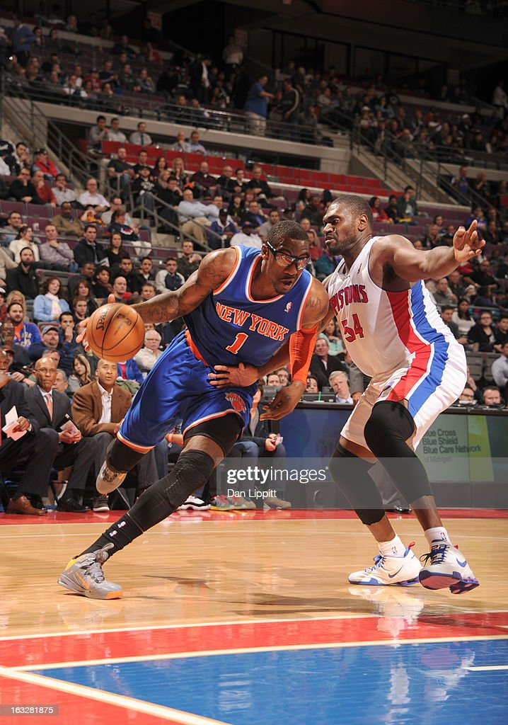 Amar'e Stoudemire #1 of the New York Knicks drives against <a gi-track='captionPersonalityLinkClicked' href=/galleries/search?phrase=Jason+Maxiell&family=editorial&specificpeople=651723 ng-click='$event.stopPropagation()'>Jason Maxiell</a> #54 of the Detroit Pistons during the game between the Detroit Pistons and the Atlanta Hawks on March 6, 2013 at The Palace of Auburn Hills in Auburn Hills, Michigan.
