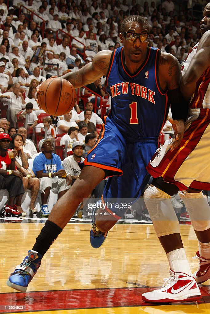 Amare Stoudemire #1 of the New York Knicks drives against <a gi-track='captionPersonalityLinkClicked' href=/galleries/search?phrase=Joel+Anthony&family=editorial&specificpeople=4092295 ng-click='$event.stopPropagation()'>Joel Anthony</a> #50 of the Miami Heat in Game One of the Eastern Conference Quarterfinals during the 2012 NBA Playoffs on April 28, 2012 at American Airlines Arena in Miami, Florida.