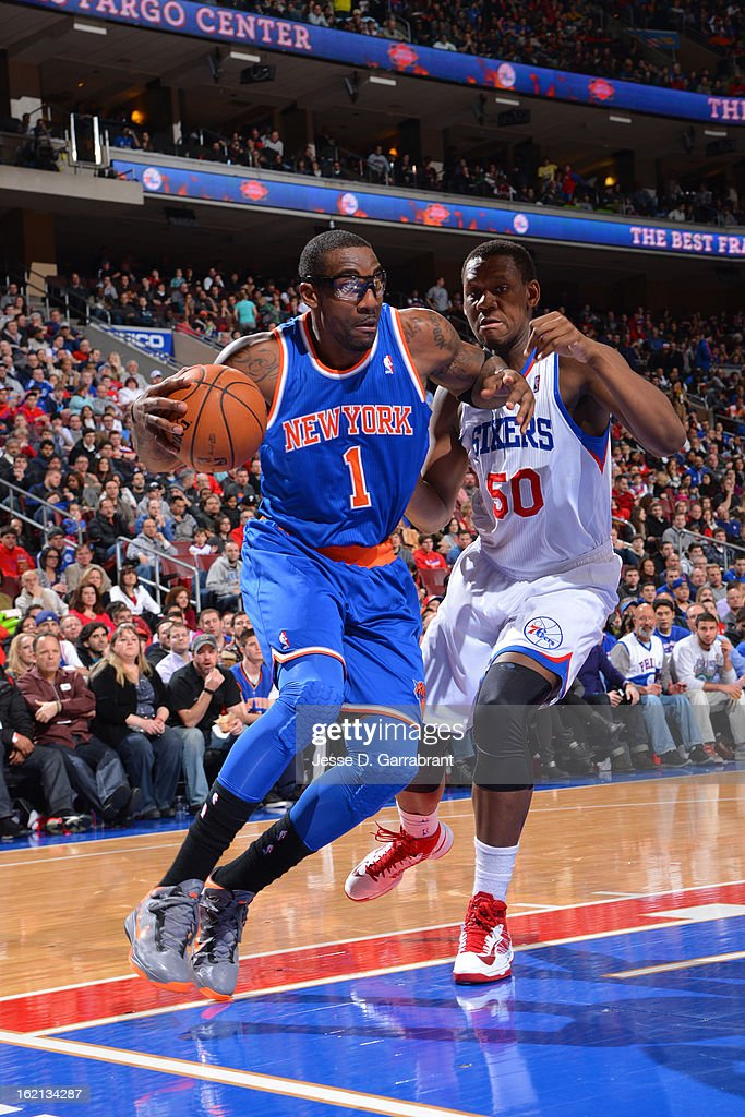 Amar'e Stoudemire #1 of the New York Knicks drives to the basket against the Philadelphia 76ers at the Wells Fargo Center on January 26, 2013 in Philadelphia, Pennsylvania.